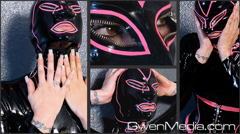 Rebecca in Black and Pink Latex